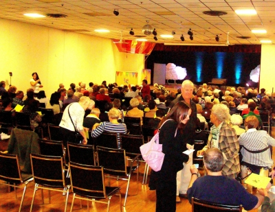 Audience arriving to see Around the World in 37 songs musical production 30 September 2011