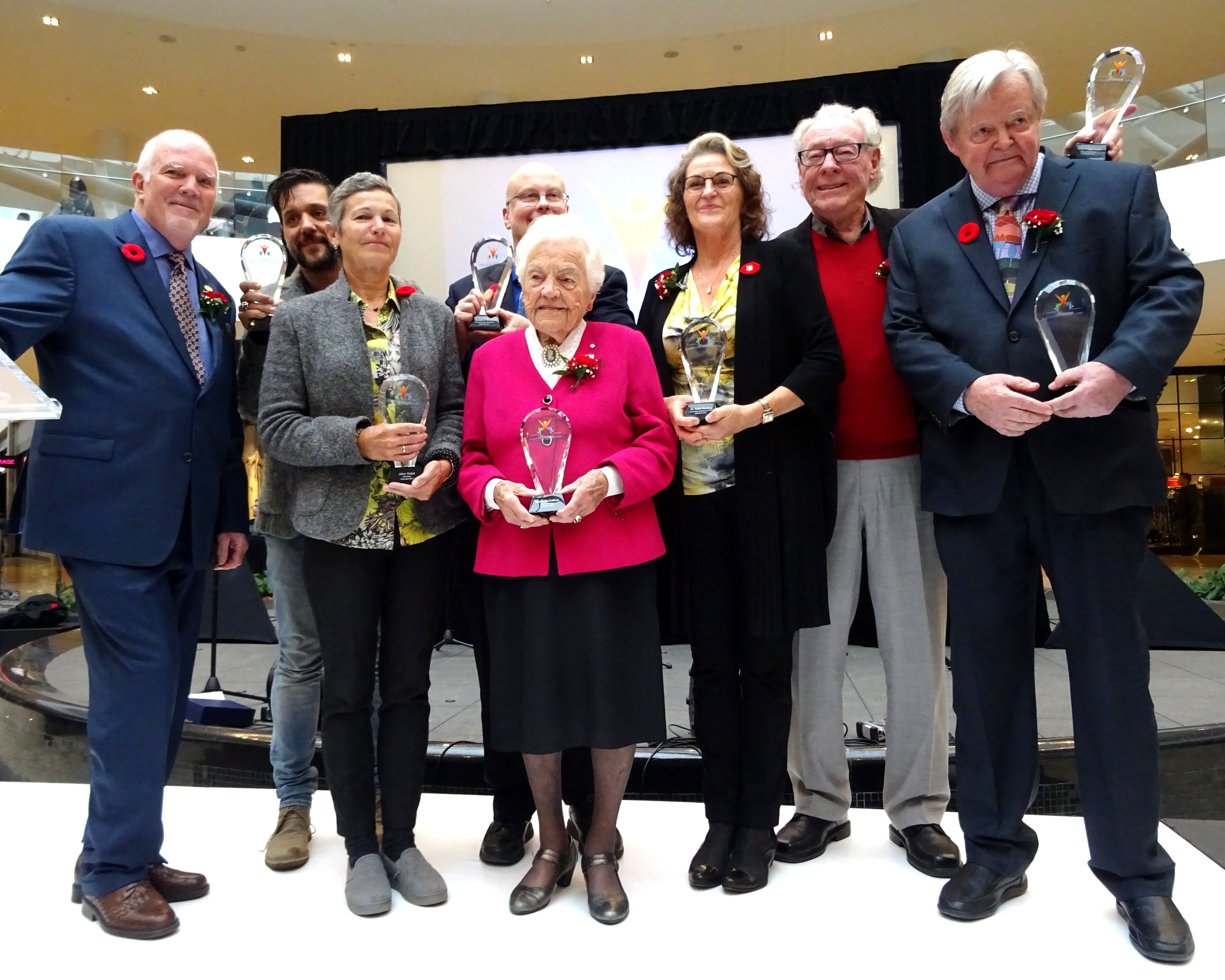 Ron Duquette with Class of 2017 Award Recipients at Legends Row: Mississauga's Walk of Fame Induction Ceremony, Erin Mills Town Centre, 4 Nov 2017