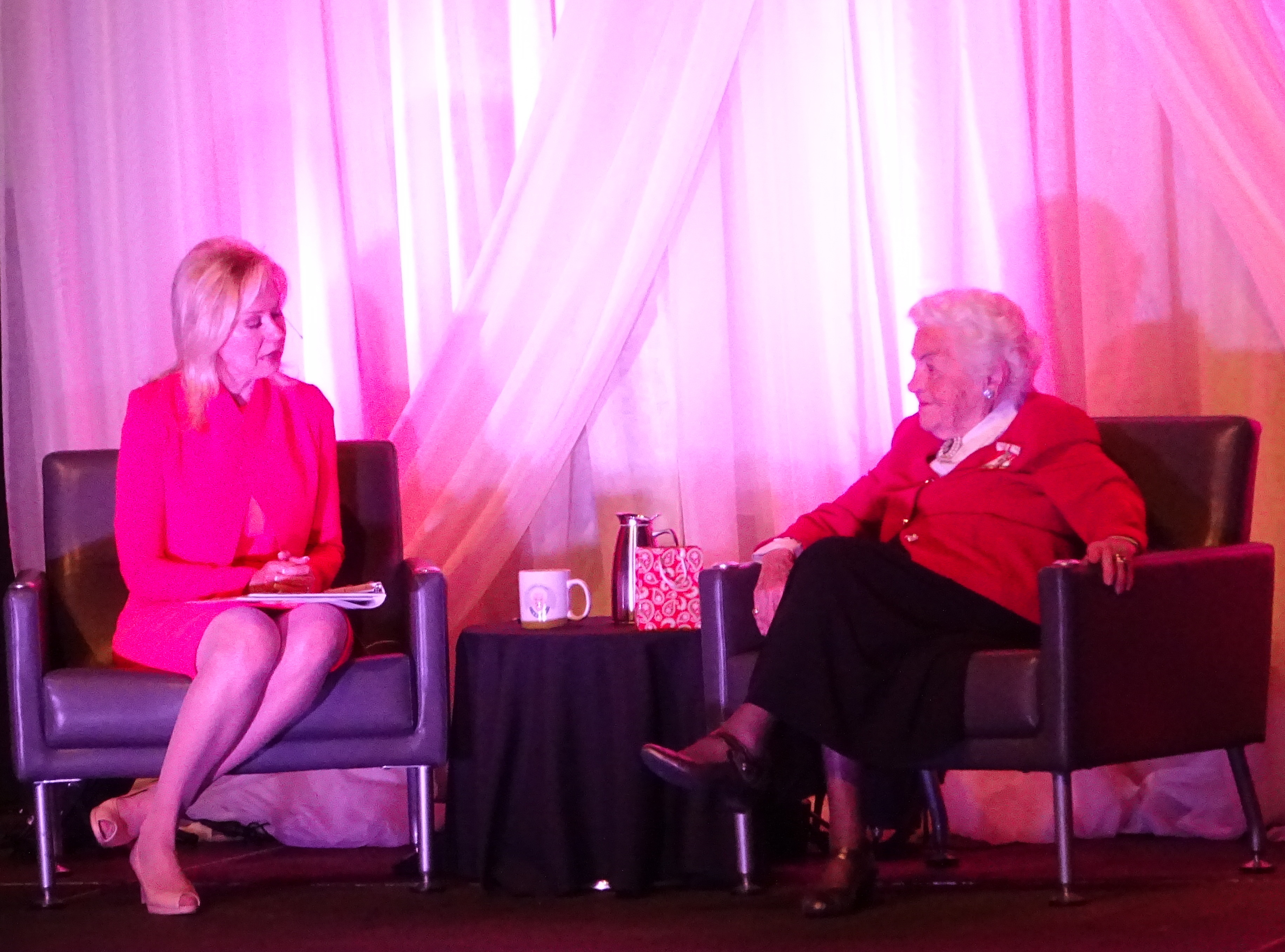 Mayor Bonnie Crombie interviews former mayor Hazel McCallion 12 April 2017
