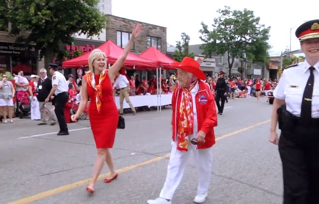 Mayor Bonnie Crombie, Former Mayor Hazel McCallion, Peel Regional Police Chief Jennifer Evans at Port Credit Hazel McCallion Canada Day Parade, 1 July 2017