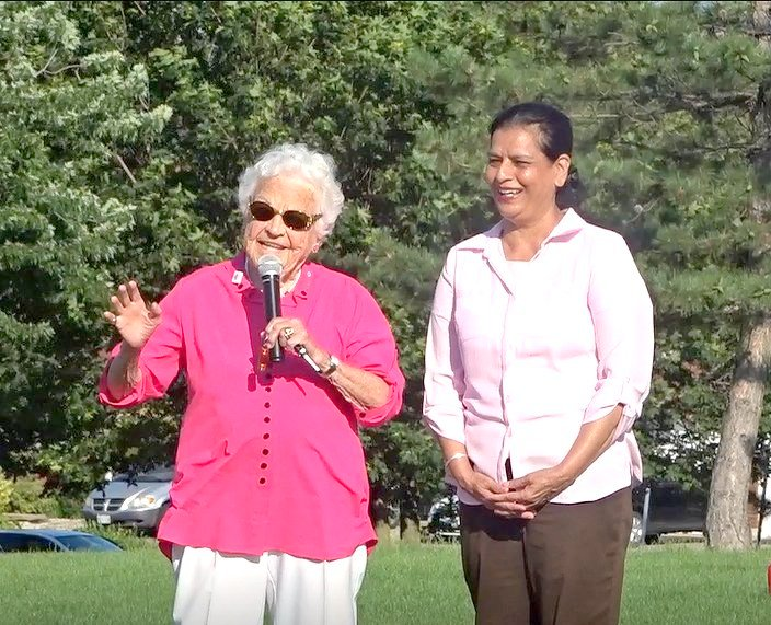 Former Mayor Hazel McCallion speaks at MPP Amrit Mangat 10th Annual Community BBQ and Info Fair 15 July 2017 at Frank McKechnie Community Park