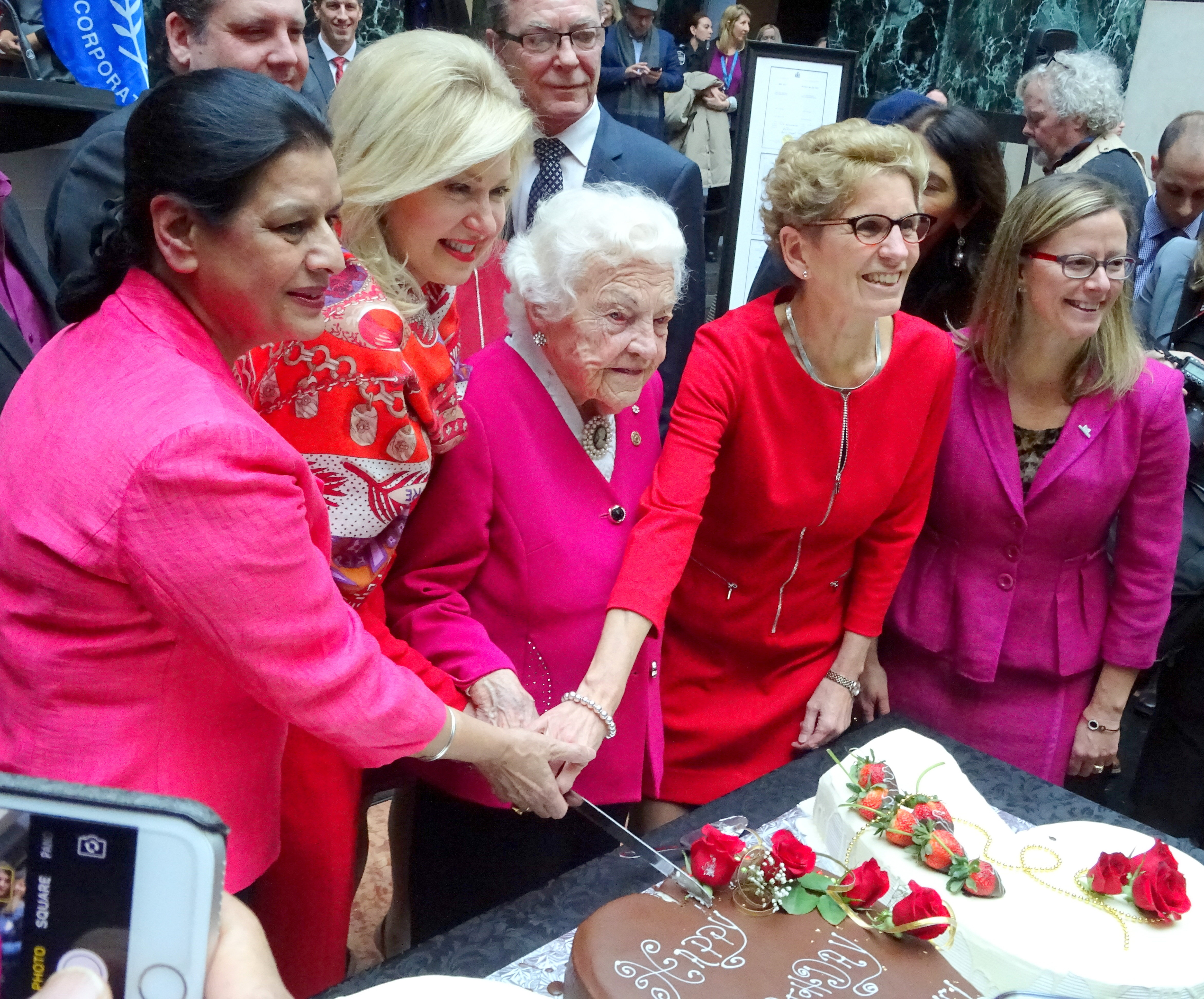 MPP Amrit Mangat, Mayor Bonnie Crombie, and Ontario Premier Kathleen Wynne help Hazel McCallion cut her 96th Birthday Cake, with Ward 3 Councillor Chris Fonseca, Mississauga Civic Centre, 14Feb17