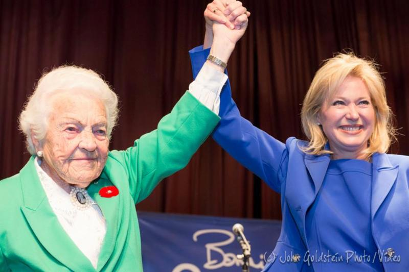 Hazel McCallion congratulates Bonnie Crombie on her win at the Pope John Paul II Polish Cultural Centre photo by John Goldstein Photo