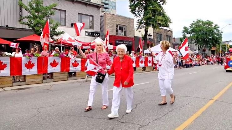 Hazel McCallion at Port Credit Paint the Town Red Hazel McCallion Canada Day Parade, 1 July 2016. Photo credits: Sanborg, Vimeo