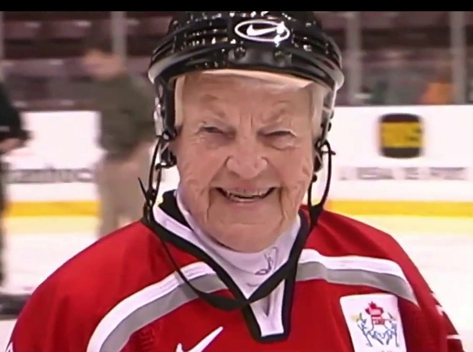 Hazel McCallion in Hockey Helmet image from Do Your Homework YouTube video: https://www.youtube.com/watch?v=53vqSJDBic0