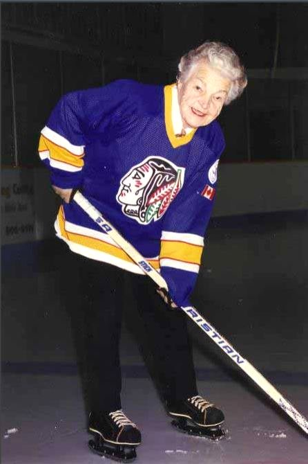 Hazel McCallion Hockey Player, circa 1970s, 1980s, or 1990s. Photo credits: Minor Hockey Tribute to Hazel McCallion