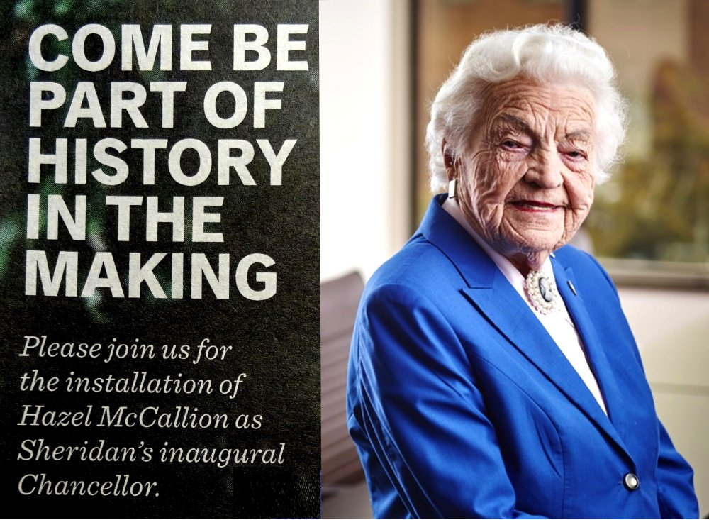 Come Be Part of History in the Making poster adapted from Mississauga News, Thursday, June 2, 2016, page 29 Google image from https://www.sheridancollege.ca/news-and-events/news/hazel-mccallion-installed-as-inaugural-chancellor-of-sheridan.aspx