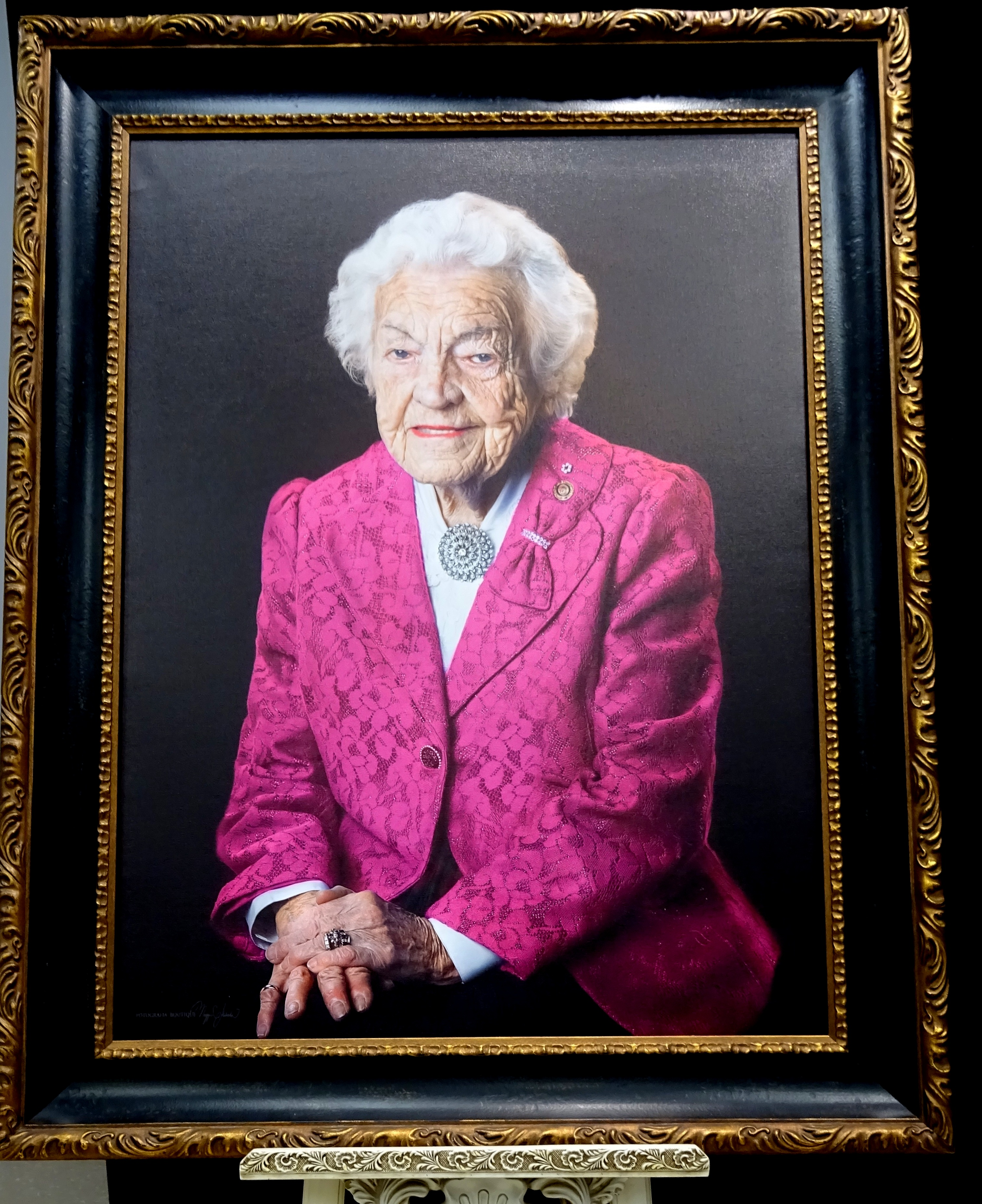 Portrait of Hazel McCallion in Pink by Maggie Habieda of Fotografia Boutique, on display at Hazel McCallion Hall, Vic Johnston C.C. 14 Feb 2017