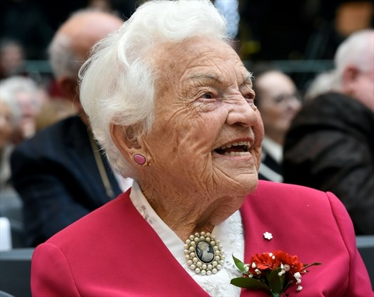 Close-up photo of Hazel McCallion by Rob Beintema of Metroland at Legends Row: Mississauga's Walk of Fame Induction Ceremony, Erin Mills Town Centre, 4 Nov 2017