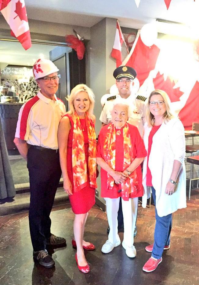 Jim Tovey, Bonnie Crombie, Hazel McCallion, Tim Beckett, Karen Ras at Paint the Town Red Canada 150 Celebration, 1 July 2017. Photo source: Bonnie Crombie July Update