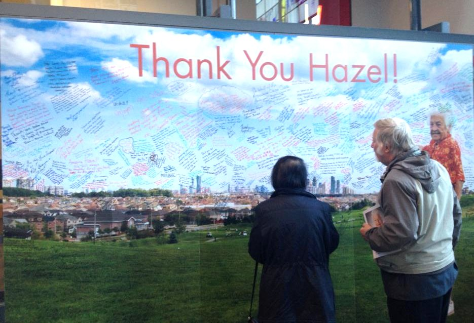 Thank You Hazel Poster After Signatures with Virginia Lawrence and Husband 19 Oct 2014 at Living Arts Centre