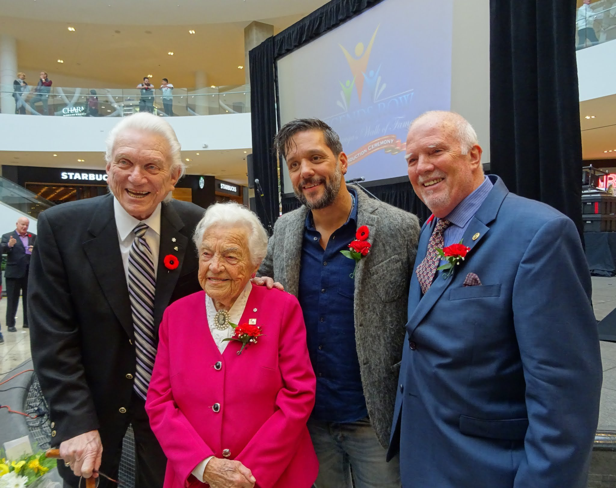 Legends Tommy Hunter, Hazel McCallion, George Stroumbouloulopoulos with Ron Duquette, President and Founder of Mississauga's Legends Row, Photo by I Lee, 4 Nov 2017