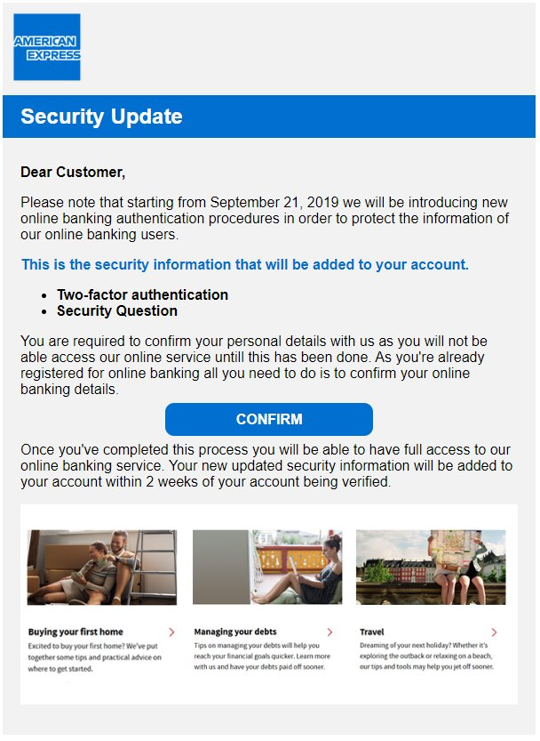 American Express Phishing Scam email received from saksidyydtdr01937@presenceamail.com Sat 2019-09-21 7:31pm