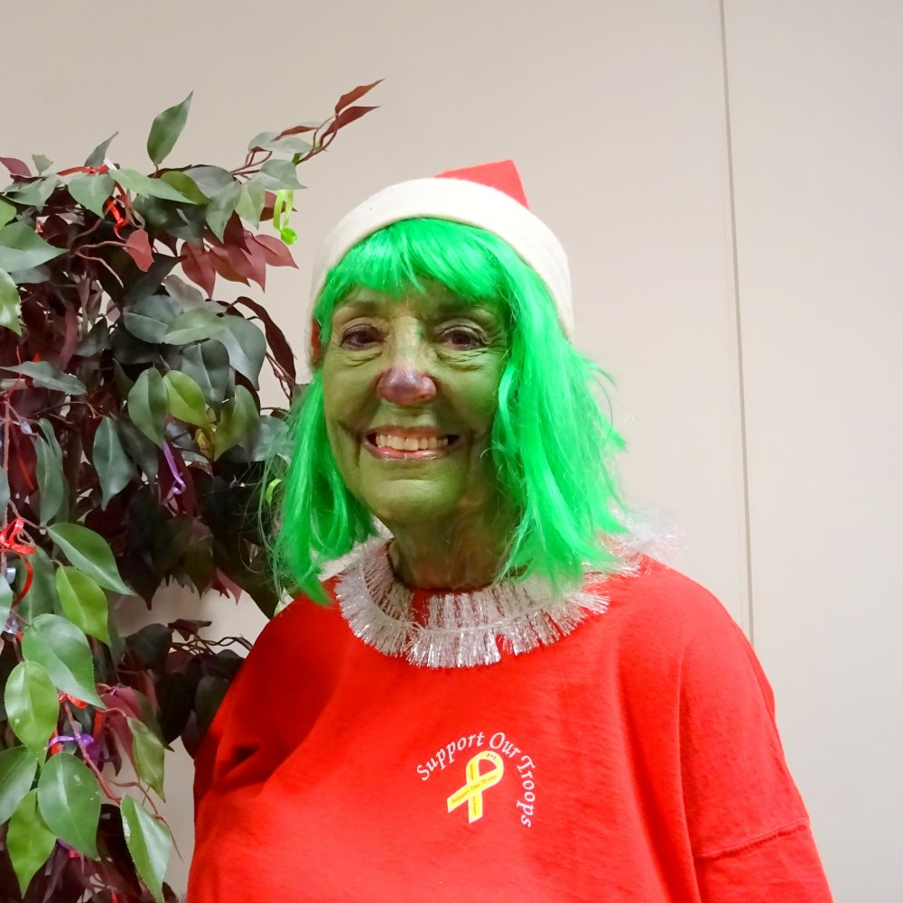 Merilyn Pitt, the Grinch in Deck the Halls Musical, 2 Dec. 2016