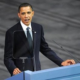 Photo from AFP: U.S. President Barack Obama delivers a speech after receiving the Nobel Peace Prize during a ceremony at the Oslo City Hall in Oslo, 10 Dec 2009