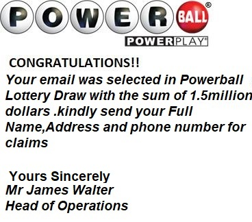 Powerball Lottery Scam image from ANJAD email Nov. 12, 2019