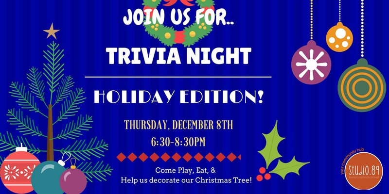 Trivia Night Holiday Edition Google image from https://www.eventbrite.com/e/studio89-trivia-night-holiday-edition-tickets-29451872343
